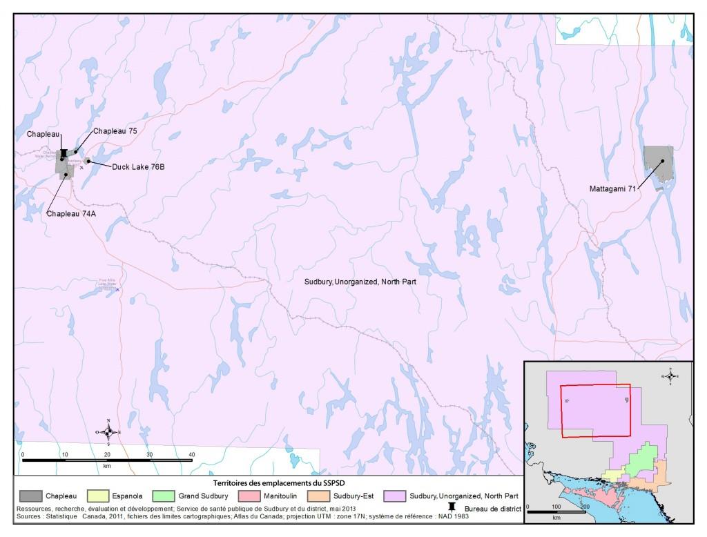 Description de la carte: Il s'agit d'une carte du secteur de Chapleau avec l'emplacement du bureau de district du SSPSD à Chapleau.