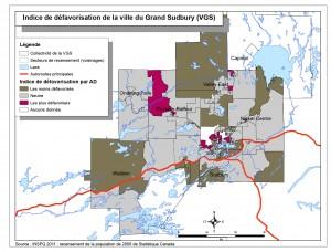 Une carte choroplèthe (sectorielle) de l'indice de défavorisation selon les aires de diffusion du recensement pour la ville du Grand Sudbury. Veuillez communiquer avec le SSPSD pour obtenir une description plus détaillée.
