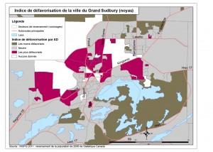 Une carte choroplèthe (sectorielle) de l'indice de défavorisation selon les aires de diffusion du recensement pour le centre-ville de la ville du Grand Sudbury. Veuillez communiquer avec le SSPSD pour obtenir une description plus détaillée.