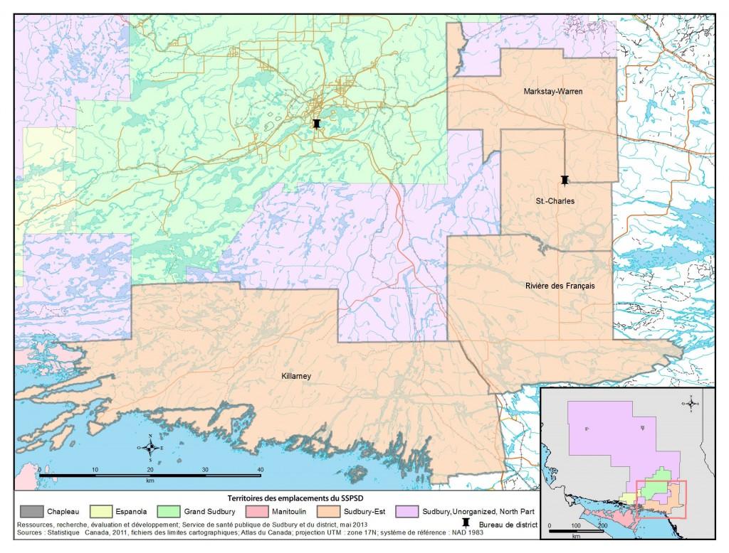 Description de la carte: Il s'agit d'une carte du secteur de Sudbury-Est avec l'emplacement du bureau de district du SSPSD à St-Charles.