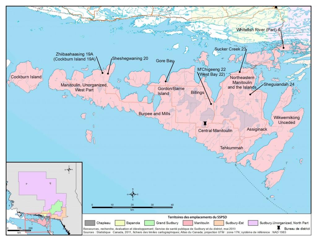 Description de la carte: Il s'agit d'une carte du secteur de Manitoulin avec l'emplacement du bureau de district du SSPSD à Mindemoya.
