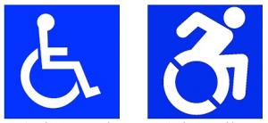 (À gauche) 1968 : symbole international d'accès; (À droite) 2013 : projet d'icône d'accessibilité
