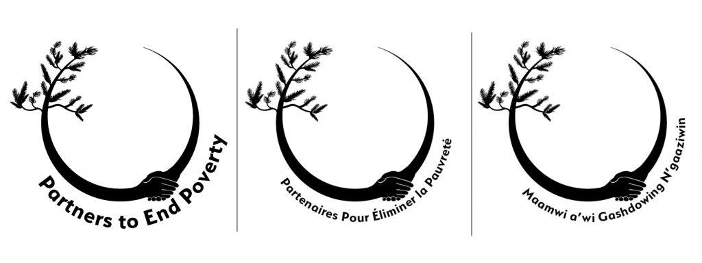 Une série de logos de Partenaires pour éliminer la pauvreté, y compris des versions en anglais, en français et en ojibwé.