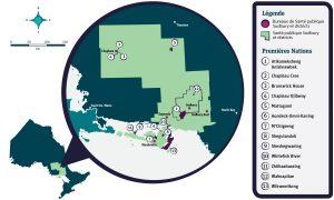 Une carte des communautés des Premières Nations situées dans le territoire de Santé publique Sudbury et districts.