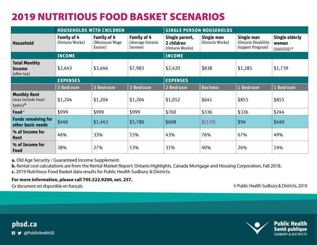 2019 Nutritious Food Basket Scenarios
