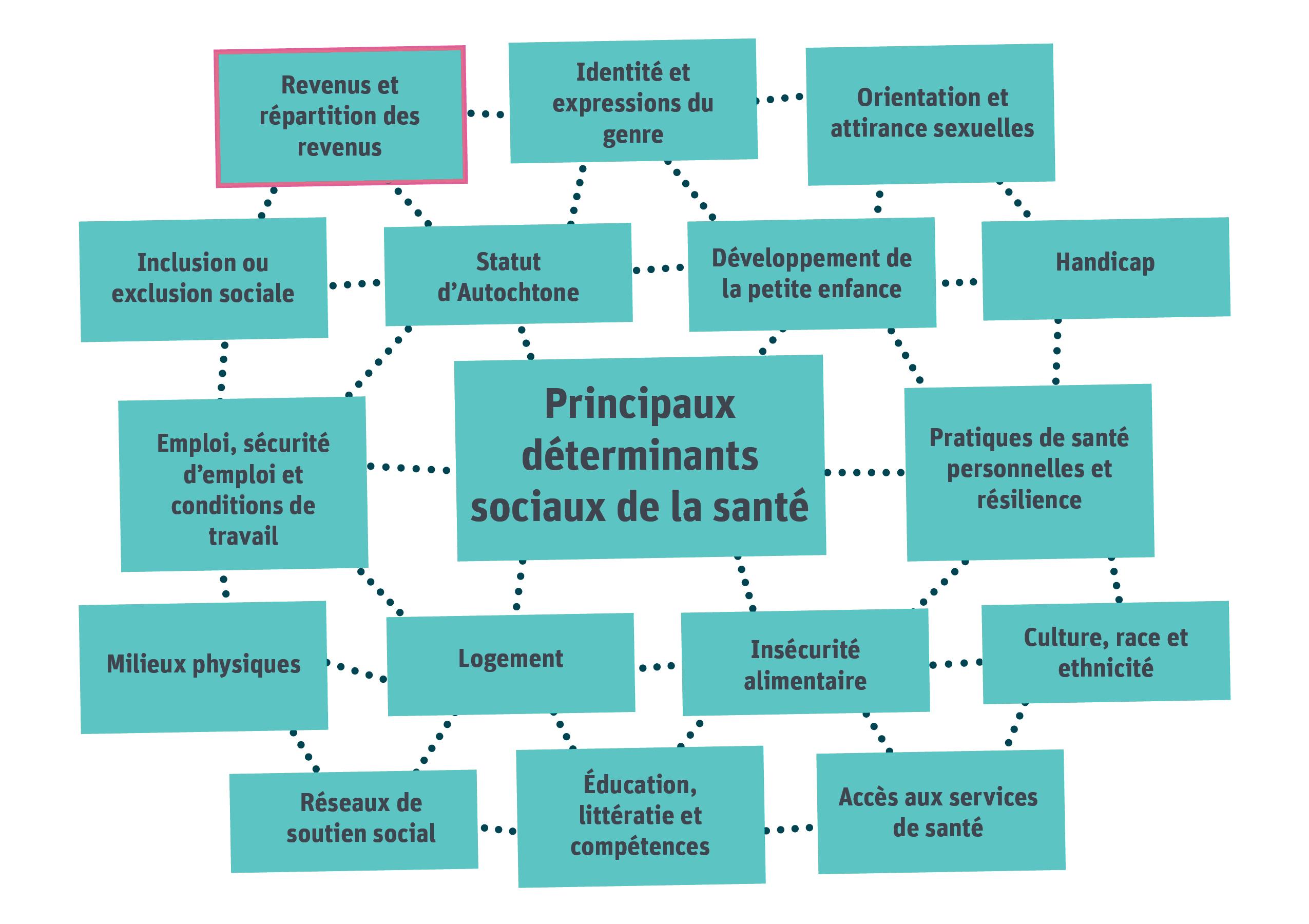La figure 1 montre le rapport qui existe entre les déterminants sociaux de la santé. Les revenus et la répartition des revenus sont soulignés comme étant le point central du présent rapport. Les principaux déterminants sociaux de la santé sont illustrés ci-après.